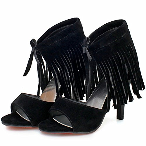 Women High Toe Fashion TAOFFEN Up Black Sandals Open Heels Lace Fringe with HqYdO