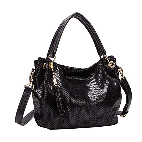 Mulpac Women Handbag Roomy Soft Leather Hobo Shoulder Bag Ladies Mulpac Top-handle Zipper Purses and Handbags (Black)