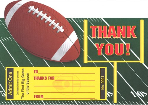 Boys Stadium Football Thank You Cards, Fill-In Style, 8 Pack ()