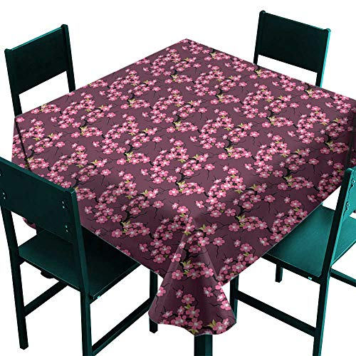 (Hinxinv Waterproof tablecloths Cherry Blossom,April in Asia Seasonal Trees in Full Blossom Far Eastern Garden Botany,Plum Pink Green,W54 x L54 Square Tablecloth)
