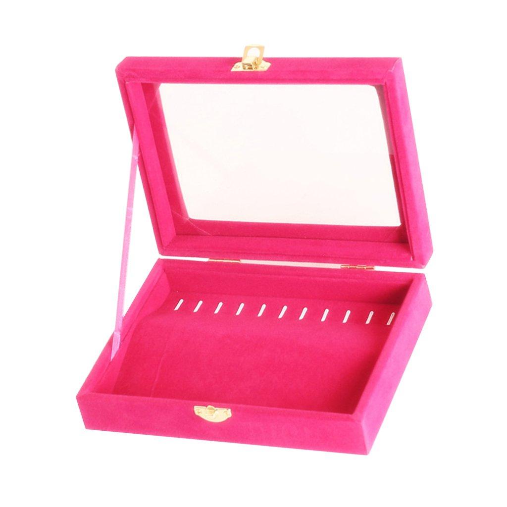 Baosity Clear Glass Lid Jewelry Box Showcase 10 Hooks Chain Necklace Tray Display Organizer