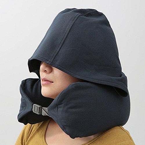 Travel Pillow withキャップasスリープマスク、首枕クッション昼寝枕、Cozy andソフト枕 16.5cm * 67cm(6.5Inch * 26.4Inch)  ネイビーブルー B0746MKBXM