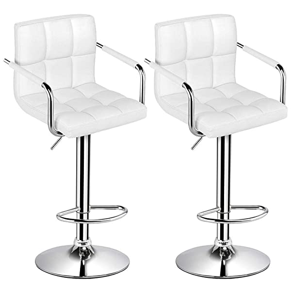 Yaheetech Tall Bar Stools Set of 2 Modern Square PU Leather Adjustable BarStools Counter Height Stools with Arms
