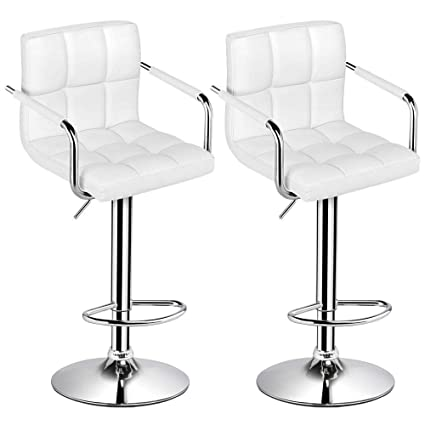 Yaheetech Tall Bar Stools Set of 2 Modern Square PU Leather Adjustable BarStools  Counter Height Stools 6e54fc4bee