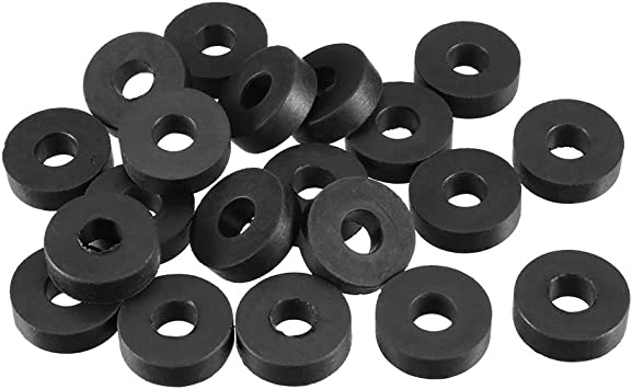 Pack of 10 sourcingmap Rubber Flat Washers 12mm OD 5mm ID 1mm Thickness for Faucet Pipe Water Hose
