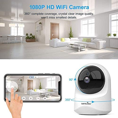 51B9I4d2t4L. AC - Baby Monitor Camera, Wansview 1080PHD Wireless Security Camera For Home, WiFi Pet Camera For Dog And Cat, 2 Way Audio, Night Vision, Works With Alexa Q6-W …