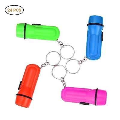 Daxoon Mini Linterna Llavero, Juguete Linterna llaveros para niños y niños pequeños - Fiesta Favor de plástico linternas (24 Unidades): Informática