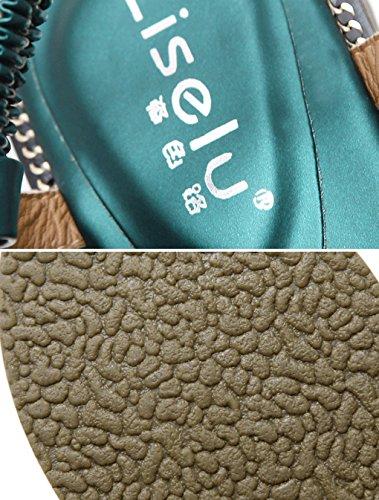 Planas Verde con de Moda HJHY® Punta Sandalias Sandalias Sandalias Cómodas Sexy Verano Sandalias Abierta de w8nBpqF