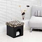 Foldable Storage Pet Ottoman Cube House Bed Cat Dogs Sleep Footstool