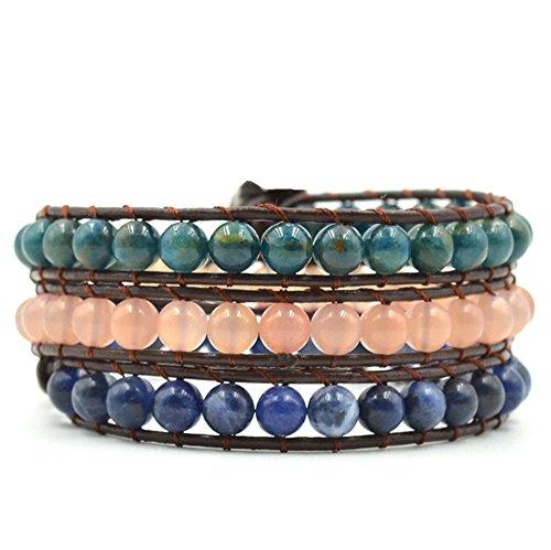 Handmade Beaded Gemstone Jewelry (Crystals and Healing Stones Bracelet Apatite Sunstone Sodalite Gemstone Beaded Chakra Yoga Jewelry)