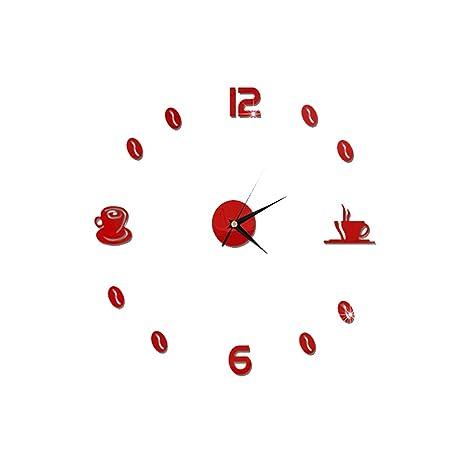 WINOMO Reloj de Pared Adhesivo Silencioso Grande 60cm (Taza de Café de Rojo)