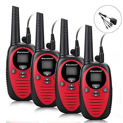 22 Channel FRS GMRS Dual Band 2 Way Radio Long Range Up to 3000M/1.9MI Range (MAX 3.1MI in Open Field) Excelvan UHF Handheld Walkie Talkie with 1-to-4 Branch Power Adapter (4 Pack, Red) - Max Range