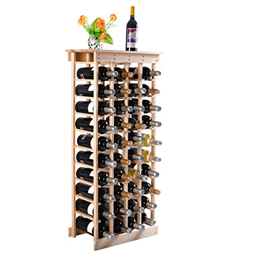 (Giantex Wine Rack Bottle Display Shelves Wood Stackable Storage Stand Wobble-Free Wine Bottle Holder Organizer for Bar, Wine Cellar, Basement, Home Kitchen Free Standing Bottle Rack (44-Bottle))