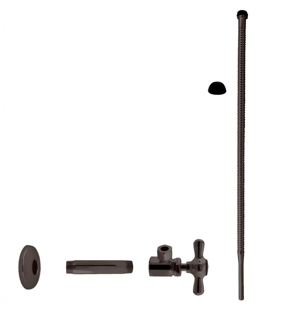 Westbrass Corrugated Supply Kit with Cross Handle, 1/2'' IPS x 3/8'' OD x 20'', Oil Rubbed Bronze, D103K20X-12 by Westbrass