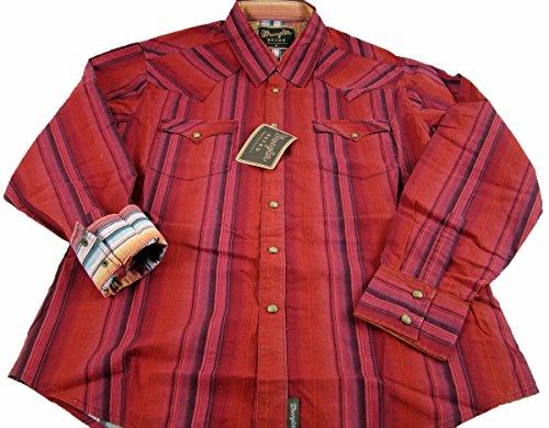 (Wrangler Mens Retro Western Long Sleeve Snaps Shirt Medium Red)