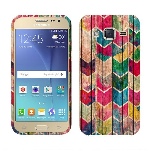 NextKin Samsung Galaxy J2 J200 4.7 1st Gen 2015 Case, Flexible Slim Silicone TPU Skin Gel Soft Protector Cover - Watercolor Chevron Stained Wood - 1 Stained Wood