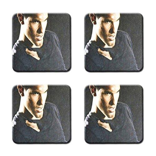 Taylor Lautner Custom Coasters - Unique Style, Durable Cork Mat (4) Pieces /Gatwolee