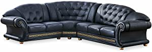 ESF Furniture Apolo Italian Leather Left Hand Facing Sectional Sofa in Black
