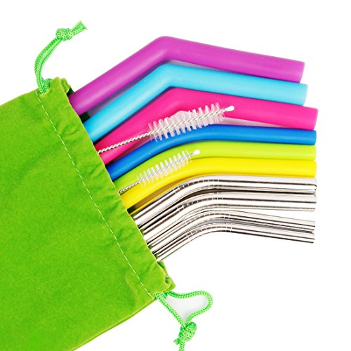 Bonnevie Reusable Straws Stainless Steel Straws Silicone Straws Set of 12 Packs in Different Size Drinking Straws for YETI & TUMBLER Perfect Smoothie Straws