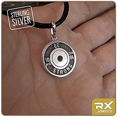 Weightlifting plate pendant Fitness gift Bodybuilding Athlete plate Sport necklace Be strong charm