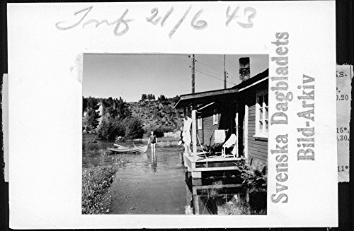 Vintage photo of Floods in Angermanalven where real estate hit - 21 June ()