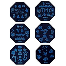 PINZANinF 1PCS Halloween Nail Art Stamp Stamping Blue Image Template Plate HD Series NO.1-6 (Assorted Colors)