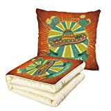 iPrint Quilt Dual-Use Pillow Fiesta Latin America Culture Inspired Ethnic Sombrero and Cactuses Worn Decorative Multifunctional Air-Conditioning Quilt Orange Seafoam Yellow Green