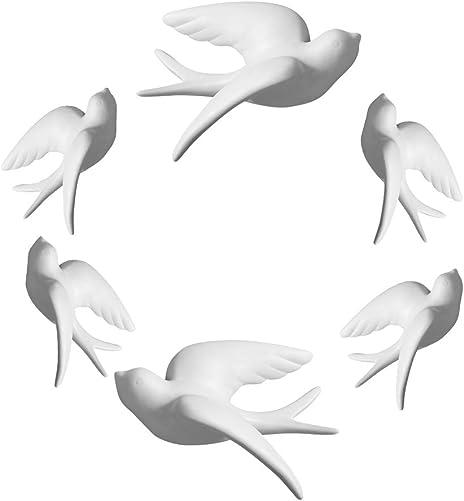 Dorlotou Set of 6 White Ceramic Sparrows Swallows Birds Wall Mounted Decor Hanging