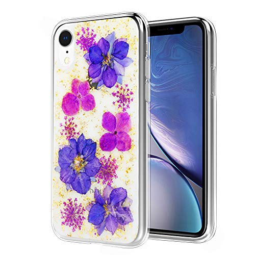 (MoKo Compatible with iPhone XR Case, Dry Flower Case Floral Design Dried Pressed Orchid Soft TPU Bumper Cover Anti-Scratch Back Panel Shell Fit with Apple iPhone XR 6.1 inch 2018 - Purple Orchid)