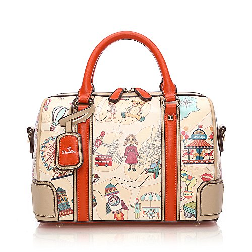 (Mn&Sue Lovely Varicolored Cartoon Pattern Leather Top Handle Handbag Barrel Boston Bag Shoulder Satchel)
