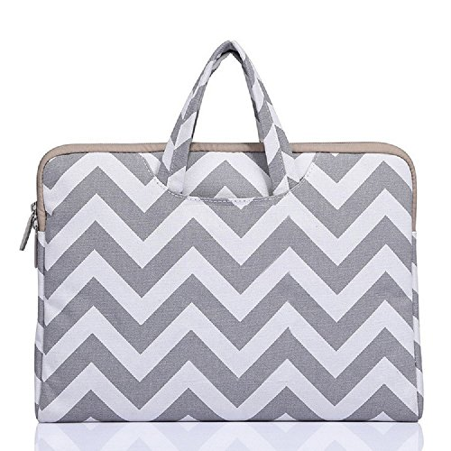 Funny live Wavy Lines Canvas Portable Laptop Sleeve Carrying Case Bag for Notebook Computer/Laptop/MacBook Air/MacBook Pro 11'' 12'' 13'' 14'' 15'' (gray, 14 Inch) by Funny live