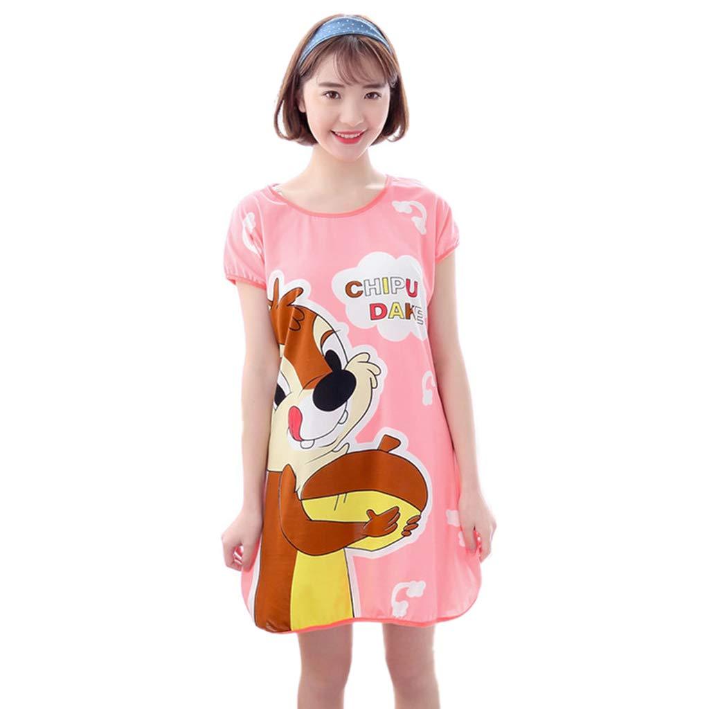 ruiruiNIE Frauen Student Sommer Milch Faser Pyjamas Kleid Kurzarm Übergroße Karikatur Tier Eichhörnchen Streifen Gedruckt Gewölbter Saum Tunika Lose Nachtwäsche 11 Styles - N