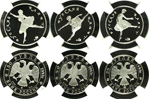 RU 1993 Russia 1993 Set 3 Platinum Coins Ballet Ballerina PF 68-69 Ultra Cameo
