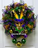 Mardi Gras Jester Mask Wreath, Mardi Gras Beads, Mardi Gras Décor - Item 2460