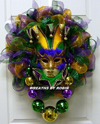 Mardi Gras Jester Mask Wreath, Mardi Gras Beads, Mardi Gras Décor - Item 2460 -
