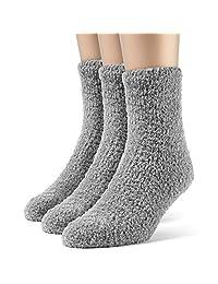 ChanPell Women's Fuzzy Quarter Plush Socks - 3 Pairs, Large, Black
