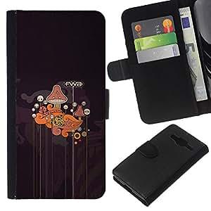 YiPhone /// Tirón de la caja Cartera de cuero con ranuras para tarjetas - Patrón Fwa Resumen Mushroom - Samsung Galaxy Core Prime