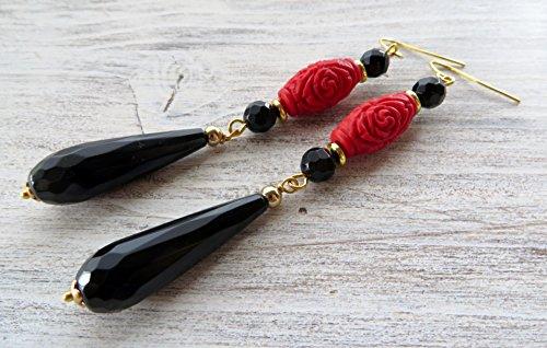 Red cinnabar and black onyx earrings, long drop earrings, gemstone earrings, oriental jewelry, dangle earrings, italian jewelry, fashion jewelry, gift for her