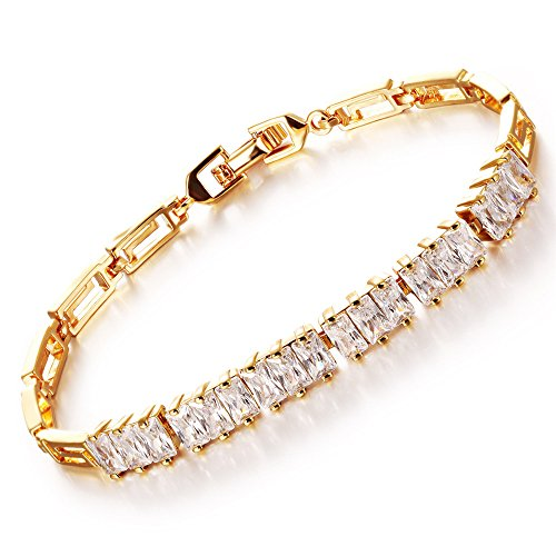 Girl Era Yellow Gold-Filled Square Cubic Zirconia Tennis Bracelet For Women,7.08