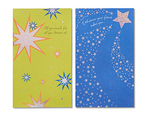 American Greetings Graduation Card Pack, Starry Green and Blue (6-Count)