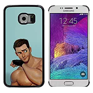 A-type Colorful Printed Hard Protective Back Case Cover Shell Skin for Samsung Galaxy S6 EDGE / SM-G925 / SM-G925A / SM-G925T / SM-G925F / SM-G925I ( Handsome Man Cartoon Muscles )