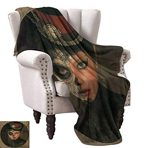WinfreyDecor Sugar Skull Living Room/Bedroom Warm Blanket Antique Portrait Girl with Calavera Inspired Makeup and Topper Realistic Design All Season for Couch or Bed 70