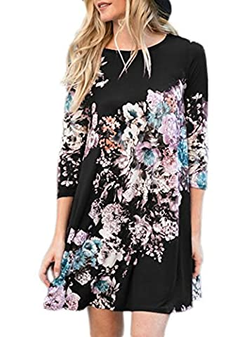 AlvaQ Women Loose 3 4 Long Sleeve A Line Knee Length Casual Juniors T Shirt Dress Maternity Midi Tunic Tshirt - Maternity Print Tunic