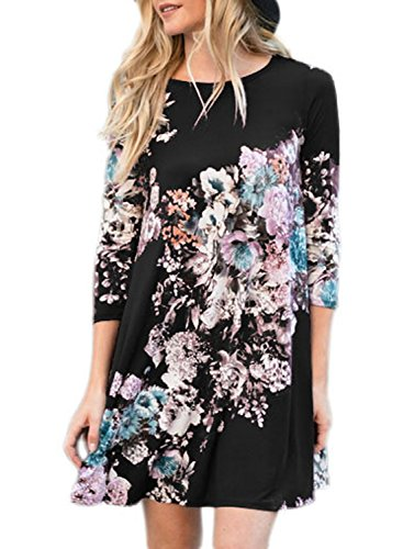 Dress A 2 Length Shirt Sleeve Black AlvaQ Women 4 Floral Line Knee 3 Casual T n6xXpZq7