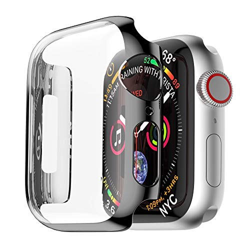 Coobes Compatible with Apple Watch Case Series 4 44mm 40mm, Ultra-Thin PC Plating Bumper with Clear Screen Protector Full Cover Shell Slim Lightweight Frame Compatible iWatch (Black, 44mm)