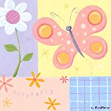 Oopsy Daisy butterfly plaid stretched canvas wall art by steve haskamp, 14 by 14-inch