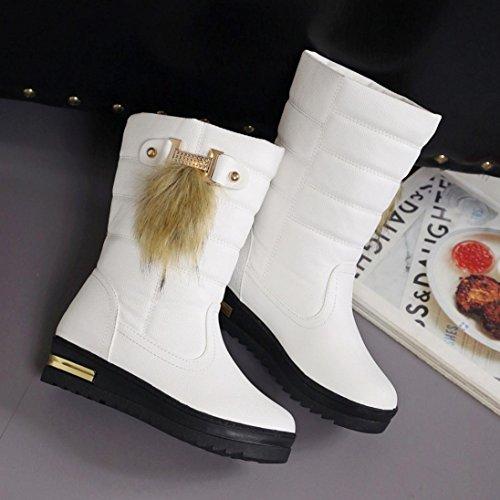 D'hiver Greatestpak mollet Chaussures Chaudes Femmes Neige Mi Blanc À De Pour Bottes qtRwxrvt