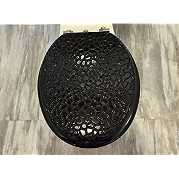 Heavy Duty Metal Hinges Round Wooden Toilet Seats With Stone Design