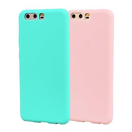 Funda HuaWei P10, 2Unidades Carcasa HuaWei P10 Silicona Gel, OUJD Mate Case Ultra Delgado TPU Goma Flexible Cover para HuaWei P10 - Cielo azul + rosa
