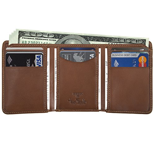 Holder Italian and Cognac Tri with Multi Slots made ID Perotti Large Currency Traditional Leather Mens Cowhide in Organizer Divider Leather Real Fold by Card Window Wallet Double Gusset Tony Capacity P8Cnwg5xq